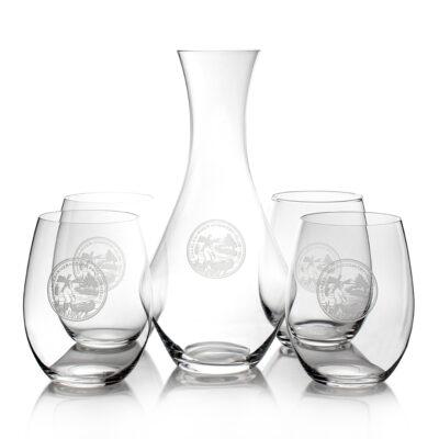 Set of 4 Stemless Glasses & Decanter