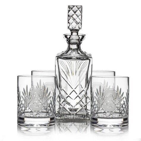 Set of 4 Double Old Fashioned Glasses & Decanter